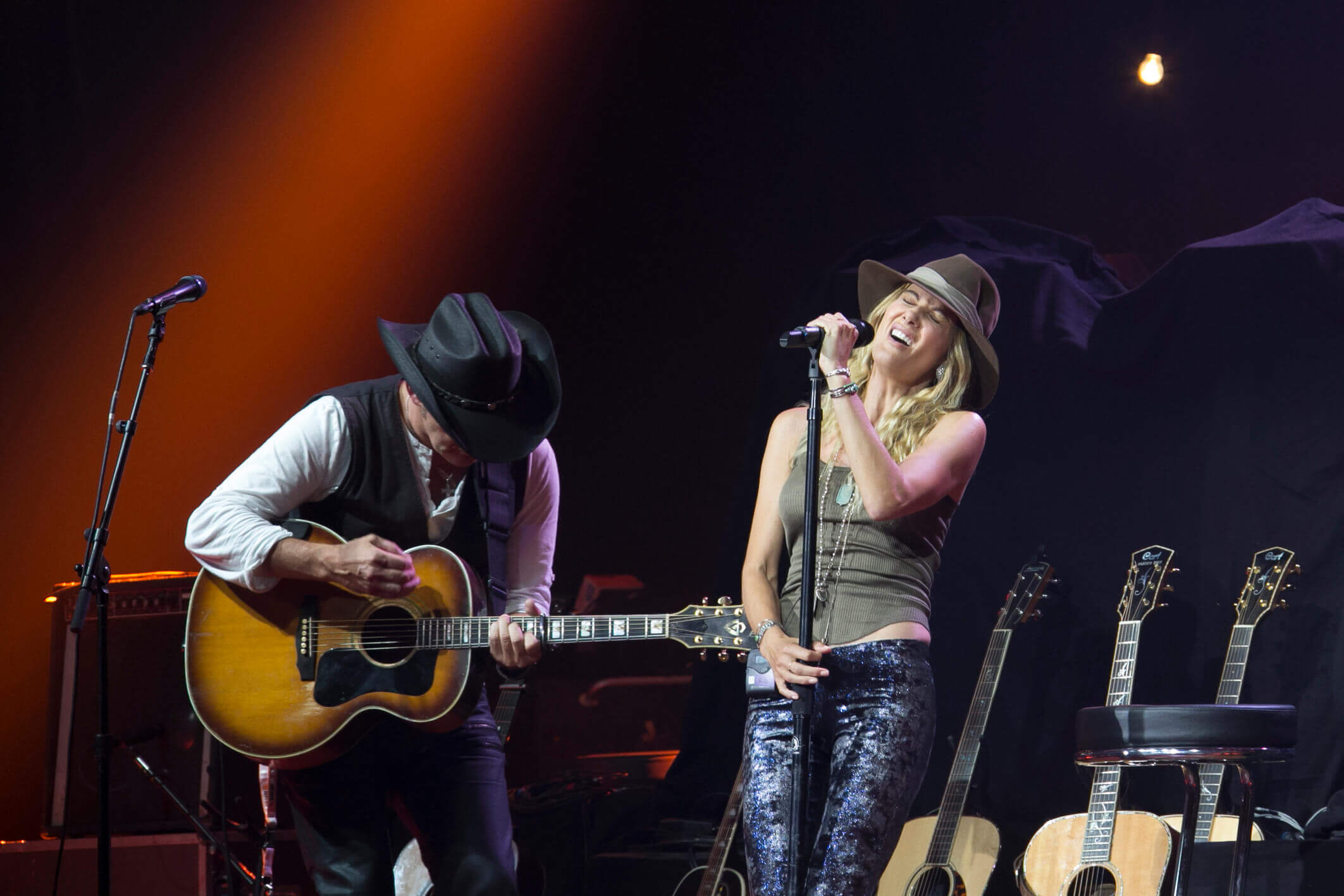 Don Mescall on Stage with Kirsty Bertarelli at the Gstaad Country Festival