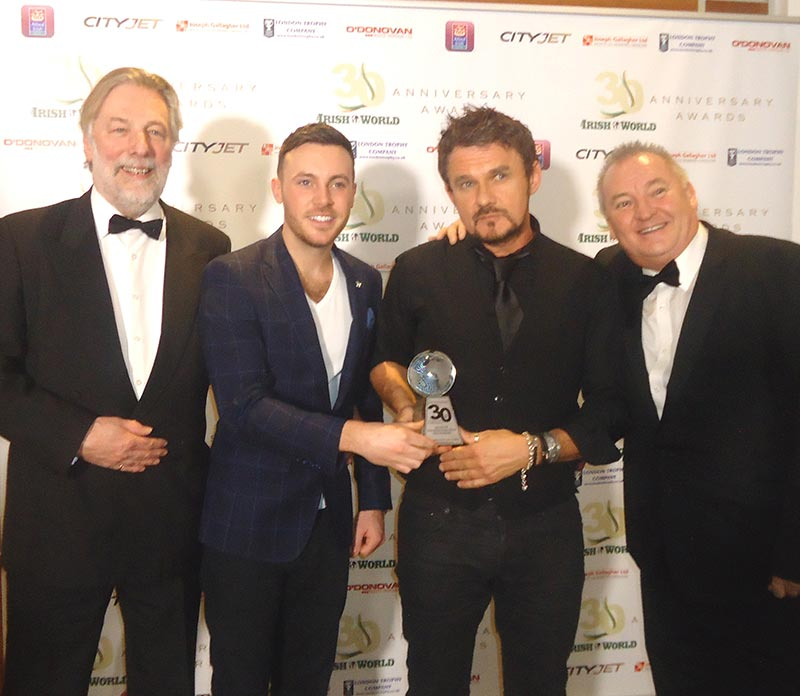 Don recieving his 'Irish World Lifetime Achievement Award for Songwriting and Production' in London Feb 2017